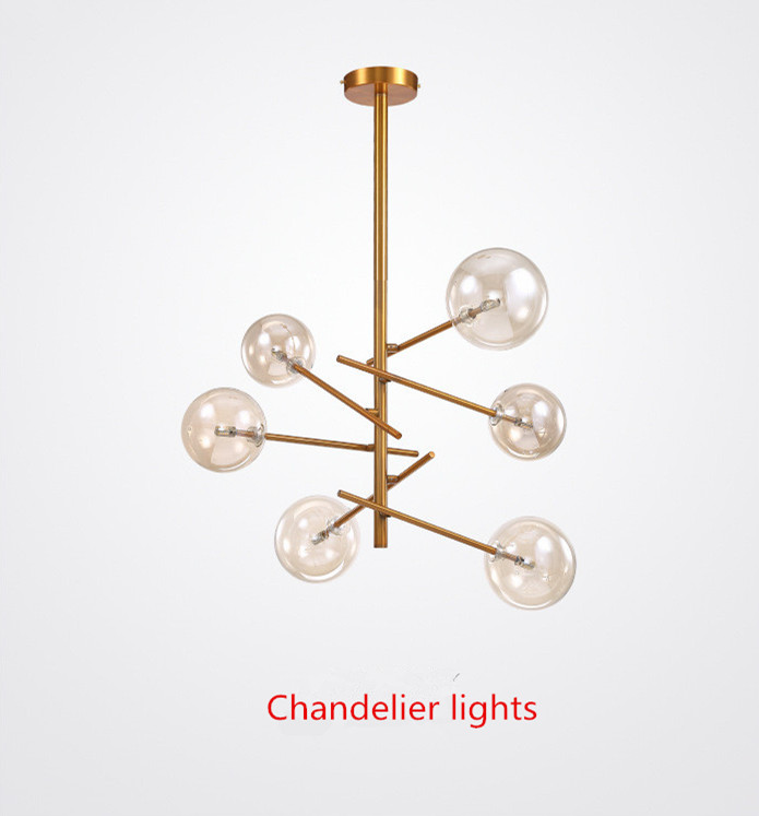 Modern Personality Magic Beans Glass Pendant Lamp Designers Tree Branches Glass Balls Hanging Lamp Modern Light Fixture