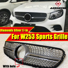 front grille suitable for glc class w253 gtr 2015 2018 x253 glc200 glc250 glc300 glc450 glc63 grille without central logo Fits For Mercedes W253 Front Grille Diamond style ABS Silver With Camera GLC class GLC250 GLC350 look grills Without sign 2017-