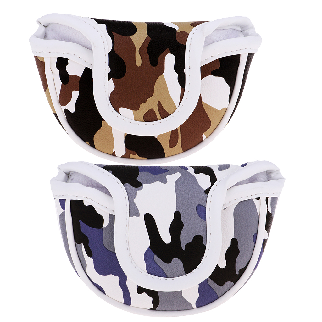 Premium PU Golf Headcover Guard Mallet Putter Cover Protector With Magnet Closure Camo Blue Brown