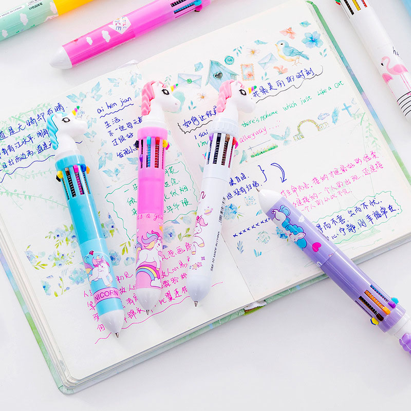 1PC 10 Colors In 1 Ballpoint Pens Kawaii Multicolor Ball Pens Cute Unicorn Pens For Kids Gift School Office Supplies Stationery
