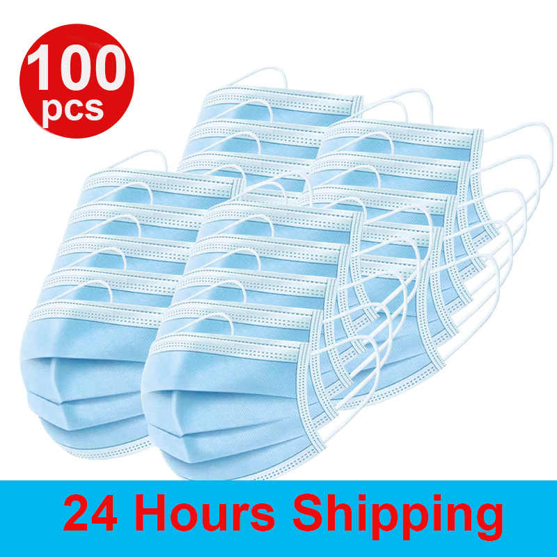 100 PCS Disposable Protective Mask 3-Ply Nonwoven Facial Cover Dust Mask Anti Bacterial Safety Mask Pk Ffp3 N95 Ffp2