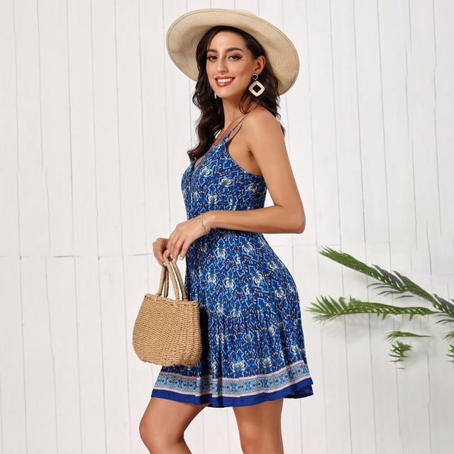Fashion Women Summer Dress Sleeveless V-neck Drawstring Loose Short Dress High Waist Printed Sexy A-line Dress Backless Vestidos 5
