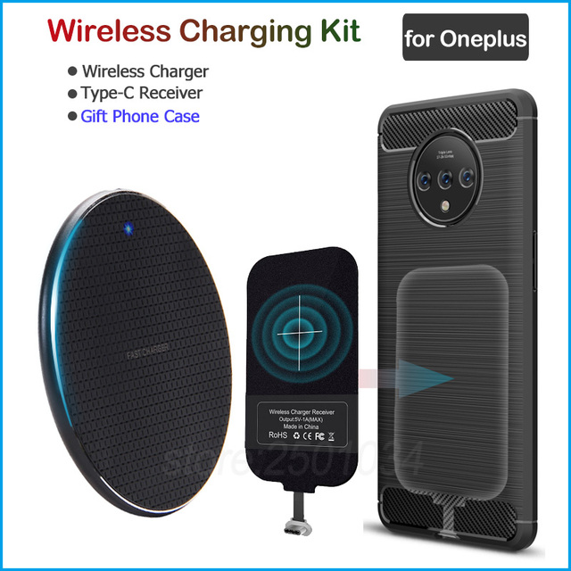 Cargador inalámbrico para Oneplus 8, 5, 5T, 6, 6T, 7, 7T Pro, Qi, adaptador receptor USB tipo C, funda de TPU de regalo
