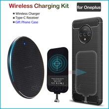 Kablosuz şarj Oneplus 8 5 5T 6 6T 7 7T Pro Qi kablosuz şarj + USB tip C alıcı adaptörü hediye TPU kılıf