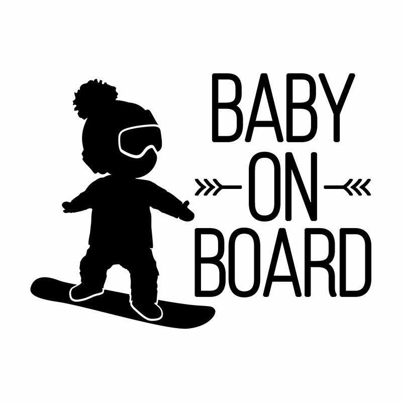 On Board Baby Boy on Skateboard Decal Sticker 11 inches Black