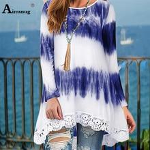 цена на Round Neck Women New Autumn Boho Print Blue Hem Splice Lace Tops Long Sleeve Female T-Shirt Loose Casual Ladies Tee Shirt