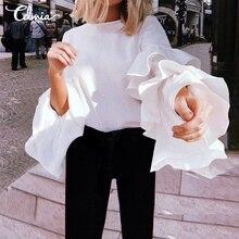 Женская Элегантная блузка с оборками, новинка, модные рубашки с длинным рукавом, офисные женские топы, повседневные свободные однотонные блузы размера плюс