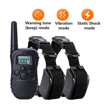 Electric Dog Training Collar LCD 300m Remote Control Shock Vibration Trainer E collar for All Size Dog Pet Supply Battery Power