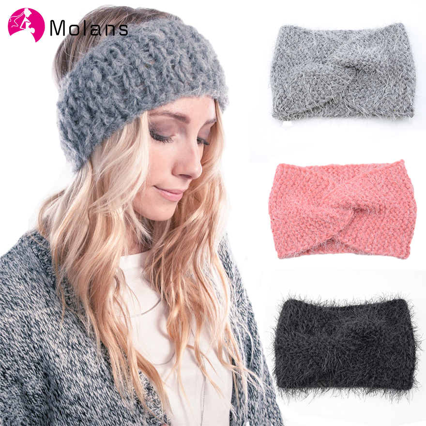 Molans Faux Velvet Plush Headbands Autumn And Winter Cross-knotted Knitting Women Hairbands Simple Warm Female Hair Accessories