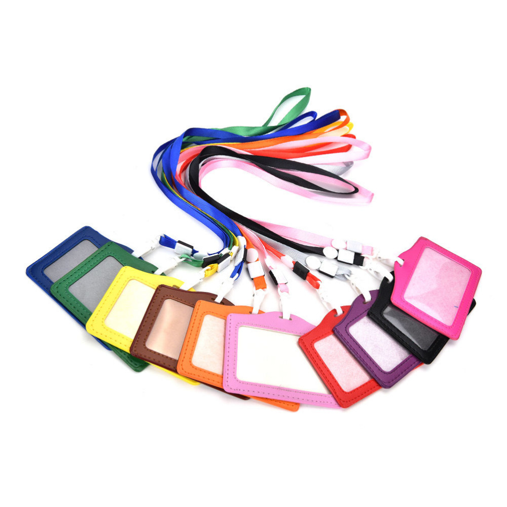 Women Men PU Leather Neck Strap Card Bus ID Holders Candy Colors Identity Badge With Lanyard Wholesale Bank Credit Card Holders