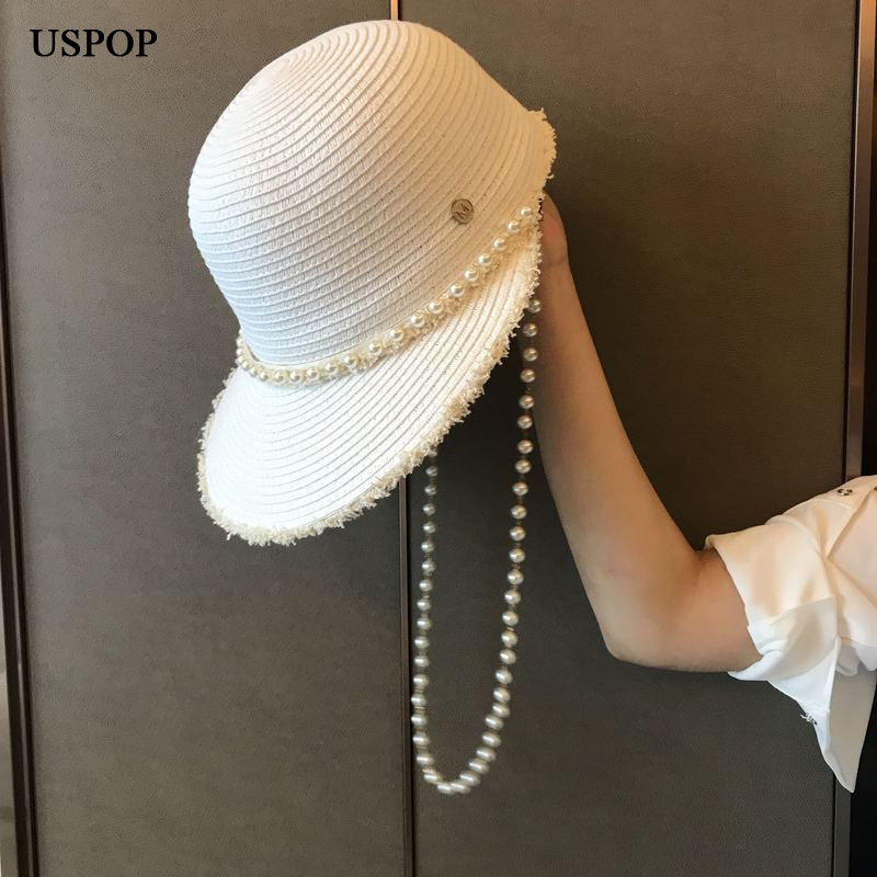 USPOP 2020 New summer hats for women wide brim pearl sun hats letter M straw hats raffia straw visor caps pearl beach hat
