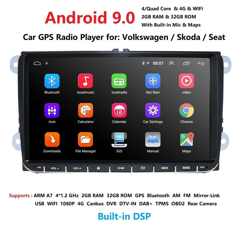 Hizpo Auto Multimedia player Android 9,0 GPS 2 Din ForVW/Golf/Tiguan/Skoda/Fabia/Schnelle/sitz/Leon/Skoda navi automotivo fm rds swc