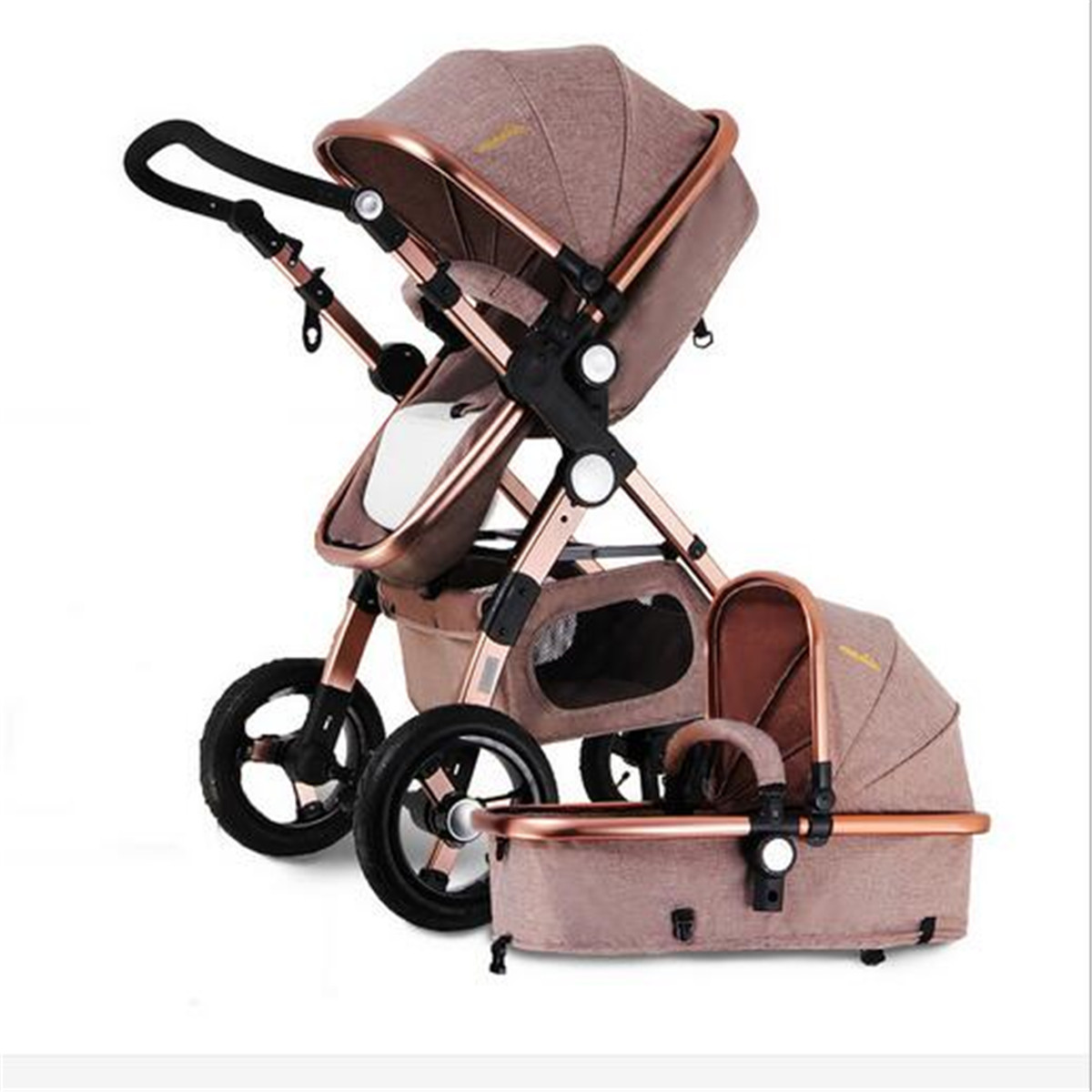 <font><b>3</b></font> <font><b>in</b></font> <font><b>1</b></font> Pro <font><b>Baby</b></font> Stroller High View <font><b>Pram</b></font> Foldable Pushchair Bassinet & Car Seat <font><b>Baby</b></font> High Landscape Cart Can Sit image