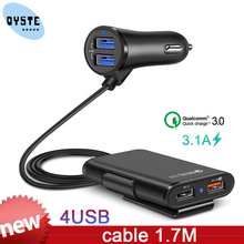 QC3.0 Car Charger 1 in 4 USB Rear Seat Row Quick Charge Car Charger Mobile Phone Fast Charging Adapter For iPhone samsung xiaomi