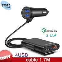 Qc3.0 carregador de carro 1 em 4 usb banco traseiro fileira carga rápida carregador de carro do telefone móvel adaptador de carregamento rápido para iphone samsung xiaomi|Carregadores de celular|Telefonia e Comunicação -