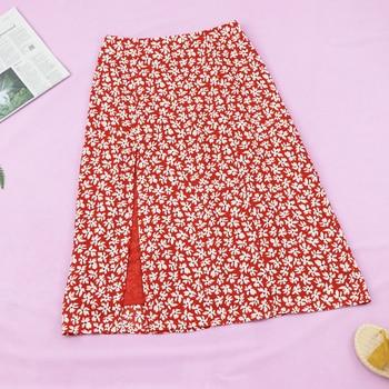 Vintage Floral Print Ruffle Pleated Long Skirts summer Women Korean Skirt Streetwear Drawstring Elastic Waist vadi Midi Skirt za ruffle trim asymmetric floral skirt