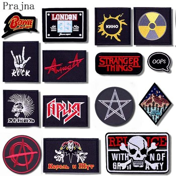 Prajna Hippie Skull Patch Iron On Rock Patch Joker Embroidered Patches For Clothes Jacket Fabric Band Metal Music Applique Badge hippie embroidered badge biker patches on clothes iron on patches for clothing punk rock back patch applique stripe for jacket