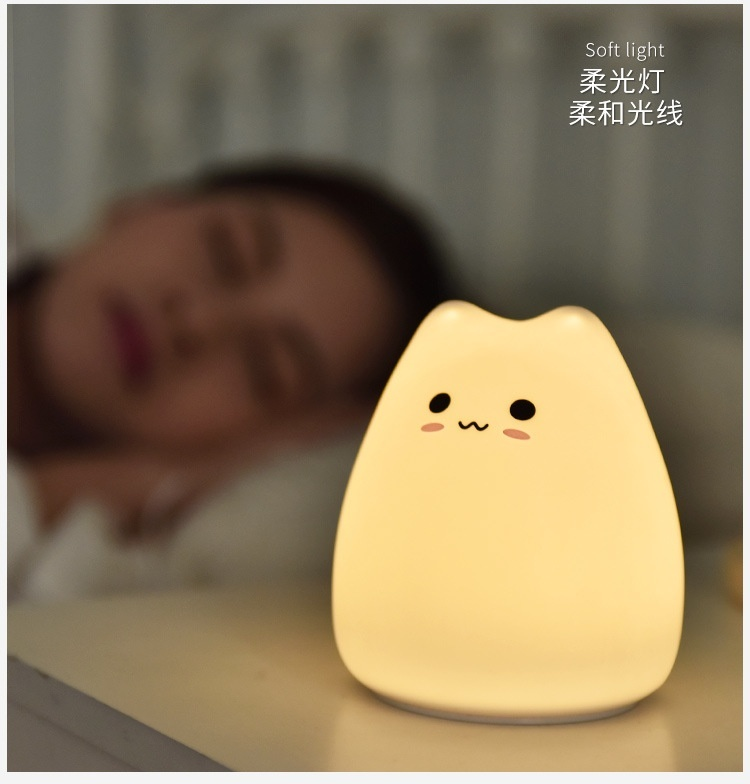 LED Night Light Kids Bedside Table Lamp Snooze Mood Lights Soft Silicone Cat Lamp Decoration with 7 Lighting Touch Switch