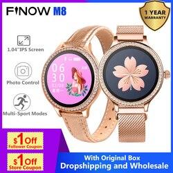 Finow M8 Lady's Smart Watch Women Heart Rate Blood Pressure IP68 Relogios Camera Control Sleep Monitoring Smartwatch Women