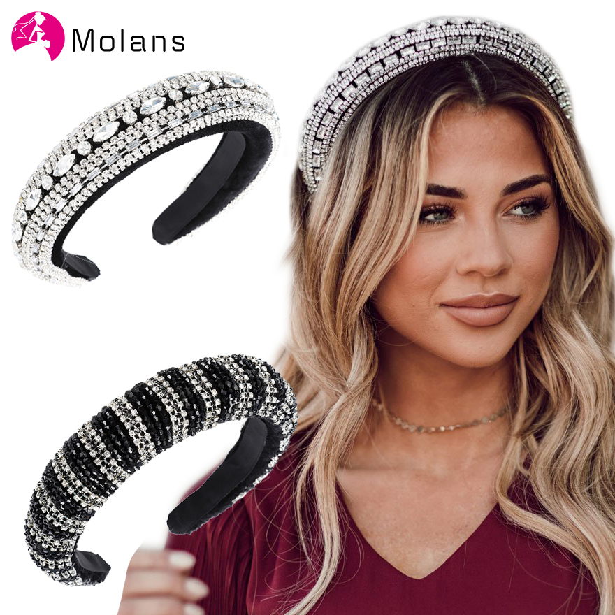 MOLANS Bright Bejeweled Padded Headbands Chic Rainbow Rhinestones Crystal Hairbands For Women Sparkly Girl's Wide Headbands
