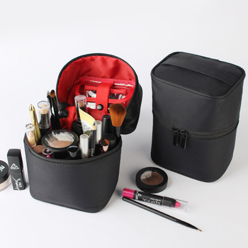 Washable Barrel Shaped Makeup Organizer with Zipper for Women Suitable for Travel and Home Use