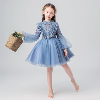 Голубое вечернее платье с длинными рукавами и круглым вырезом для девочек Повседневная летняя одежда для маленьких девочек, короткое плать...