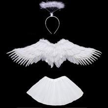 White Black Women Girl Angel Feather Wing Tutu Skirt Halo Ring Party Birthday Gift Carnival Wedding Costume Halloween  Christmas