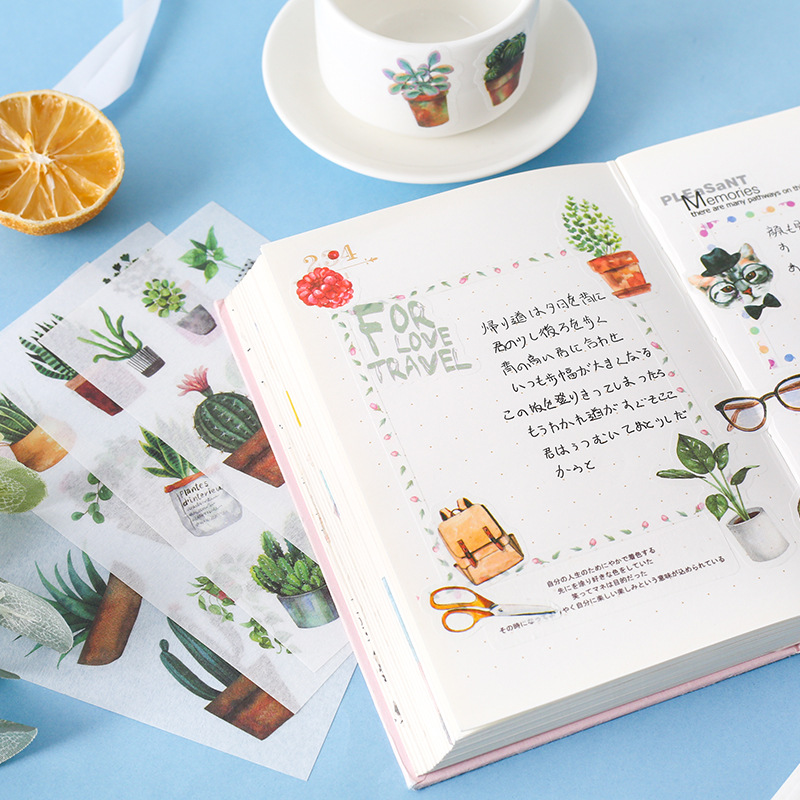 6 Sheets/lot Cute Washi Paper Stationery Sticker Set Floral Kawaii Stickers Decoration Label For Journal Planner Scrapbooking