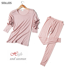 70% lã 30% seda perfeita termo clothes manga camiseta térmica ropa interior femenina pijama feminino segunda pele camisola termica mulher para inverno termico conjunto cuecas calca