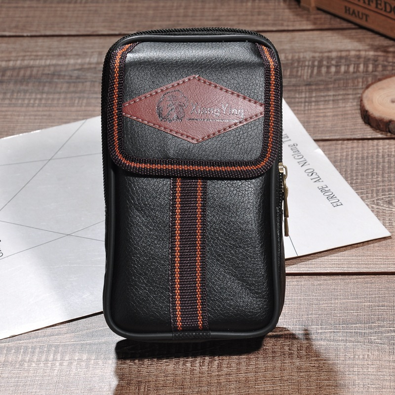 Men Faux Leather Pin Tiao Verticle Mobile Phone Bag Multi-functional MEN'S Pockets Wear Leather Belt Mobile Phone Waist Bag