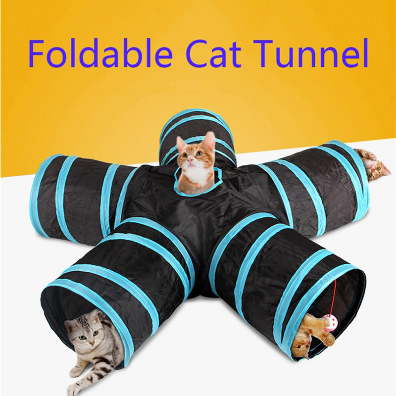 Hot  Foldable Pet Cat Tunnel Indoor Outdoor Pet Cat Training Toy For Cat Rabbit Animal Play Tunnel Tube 2/3/4/5 Holes 14 Colors