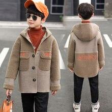 Wool-Coat Hooded Jacket Children Outwear Windbreaker Kids Velvet Autumn Boys Plus Winter
