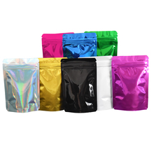 8.5x13cm 100pcs/lot Multi-colors Stand Up Aluminum Foil Food Package Bags Zip Lock Mylar Bag Glossy Surface Resealable Storage