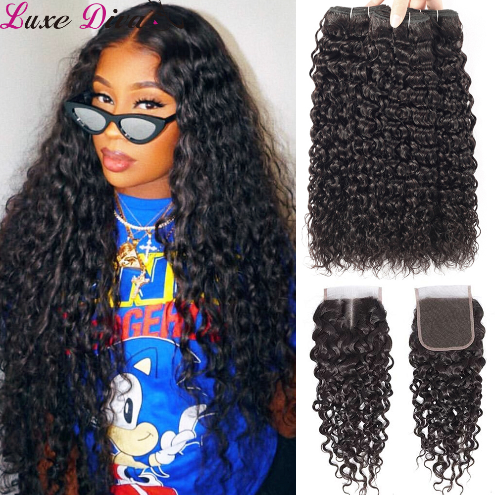 Brazilian Water Wave Bundles With Closure Luxediva Wet And Wavy Human Hair 3Bundles With Closure Mink Remy Curly Hair Weaves