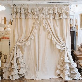 Cortinas de algodón liso estilo country americano de doble capa, cortina de cáñamo original Rural, bolsillos, volantes, capa de pastel, Cortinas de encaje