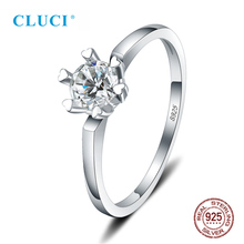 цена на CLUCI 100% Silver 925 Single Zircon Women Wedding Ring Jewelry Classic Six Flaw Ring for Engagement Valentine Gift