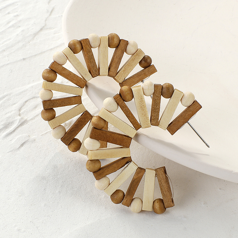 AENSOA Personality Bohemia Wooden Big Earring Unique Ethnic Vintage Geometric Handmade Hollow Wood Braid Drop Earring For Women