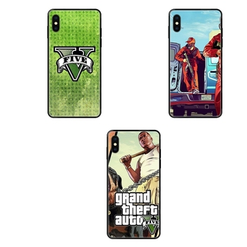 Gta Grand Theft Auto 5 San Andreas Black Soft TPU Protective Cover Case For iPhone 11 12 Pro 5 5S SE 5C 6 6S 7 8 X 10 XR XS image