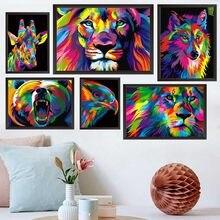 Animal pintura a óleo cor abstrata animal cabeça arte pintura da lona sala de estar corredor escritório decoração casa mural