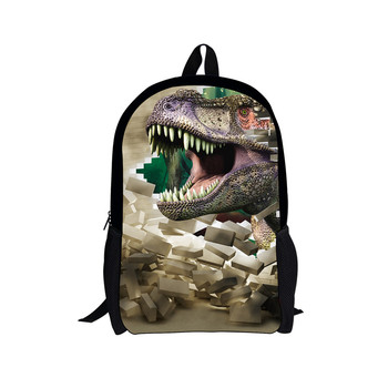 Jurassic Tyrannosaurus Rex School Bag Custom Pattern Children Backpack Boy Girl School Backpack Student Bag 3D Printing Backpack marilyn manson rock band school bag noctilucous backpack student school bag notebook backpack daily backpack