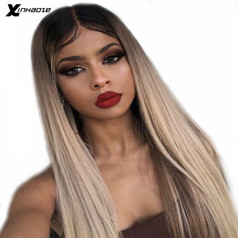 Straight Ombre Color 1B 18 Pre Plucked 13x6 Lace Front Human Hair Wigs With Middle Part Brazilian Remy Lace Front Wig For Women