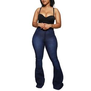 Casual WOmen Ripped Denim Jeans pants Flare Pants Streetwear High Waist Has Stretch Jeans for Women Plus Size S-3XL
