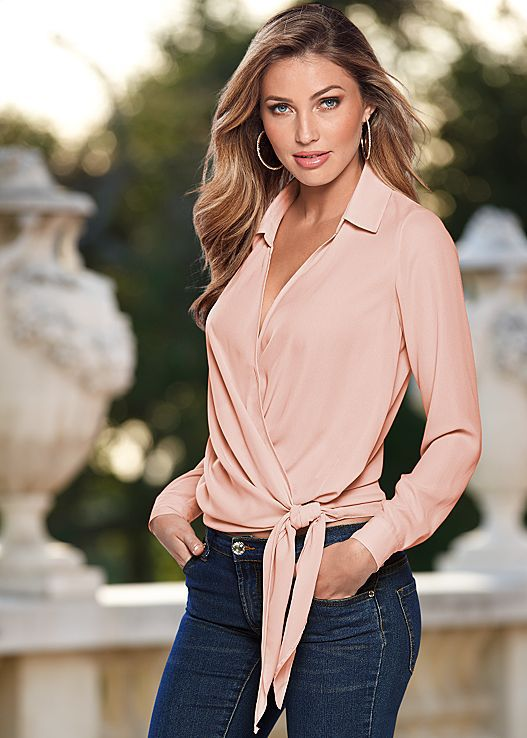 Women Blouses Office Lady Shirts Sexy Overlap Low Cut Bandage Knot Turn-Down Collar Elegant Smooth Silk And Satins Tops