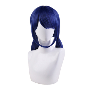 Ladybug Wigs Peluca Marinette Girls Women Cosplay Double Ponytail Braids Short Straight Wig Blue Hair(China)