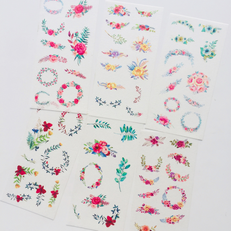 6 Sheets Garland Floral Decorative Adhesive Stickers Decoration