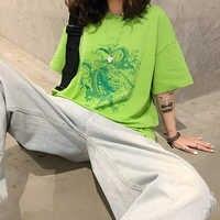 Retro Chinese Dragon Print Harajuku Style Casual Cotton Green T-Shirt Street Personality Summer New Products Long Sleeve Shirt W
