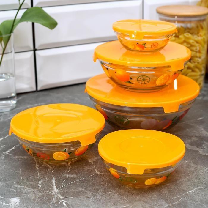 """Набор салатников с крышками """"Апельсин"""", 5 шт: 130/200/350/500/900 мл, цвет оранжевый Чаши      АлиЭкспресс"""