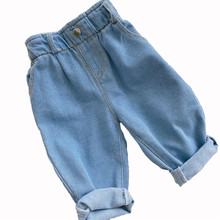 2020 Autumn And Winter New Jeans Baby Girl Clothes Baby Boy Clothes  High Waist Solid Color Warm Out Jeans Children's Clothing