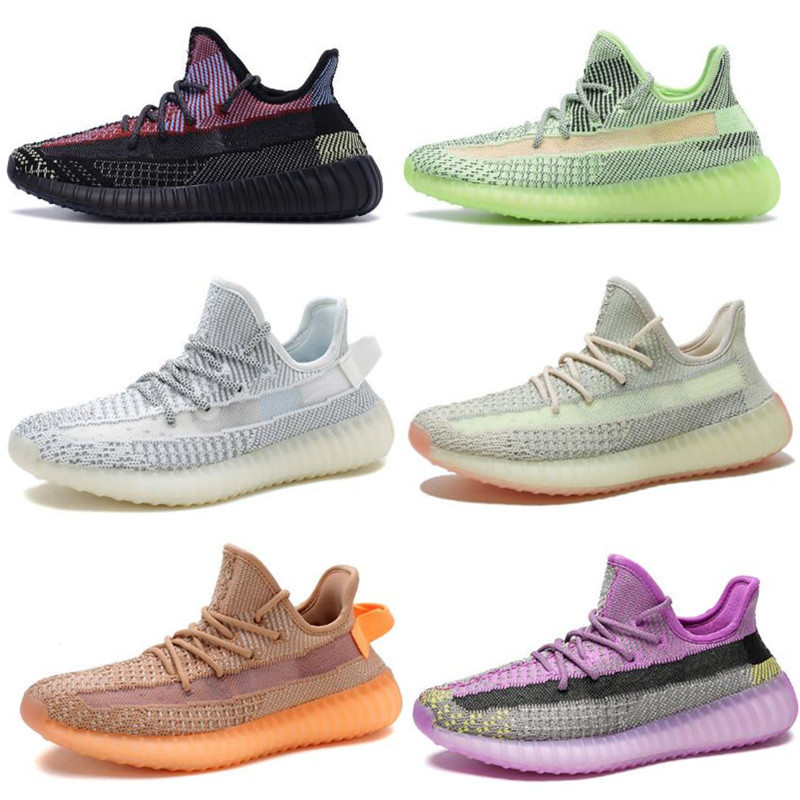 Men Women 350 V2 Reflective Outdoor Sneakers Running Shoes For Men Unisex Couple Breathable Sport Sneakers Cushioning