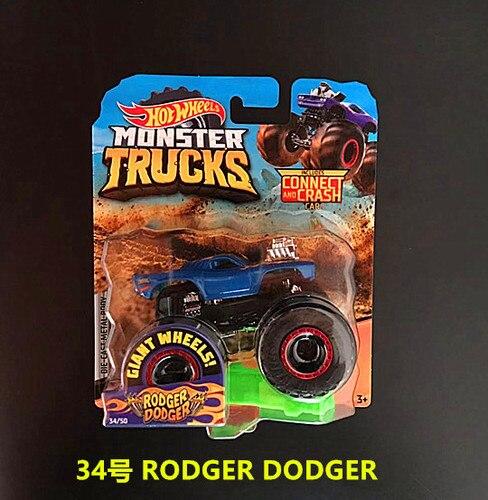 1: 64 оригинальные горячие колеса гигантские колеса Crazy Barbarism Монстр металлическая модель грузовика игрушки Hotwheels большая ножная машина детский подарок на день рождения - Цвет: 34